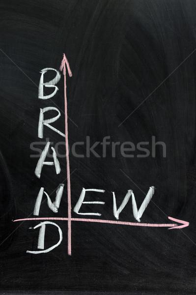 Marca novo palavras escrito lousa fundo Foto stock © raywoo
