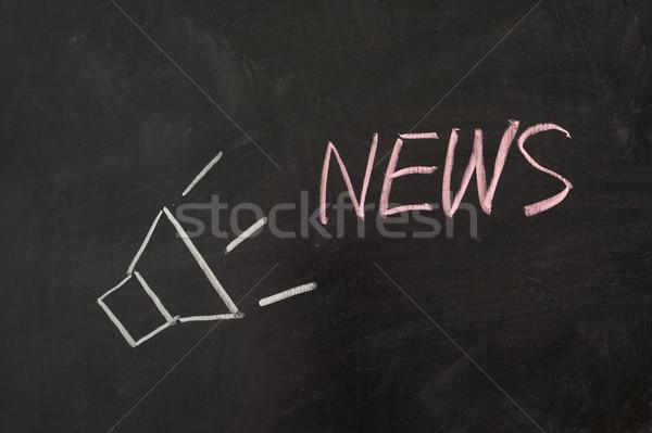 Haber kelime yüksek sesle konuşmacı tahta imzalamak Stok fotoğraf © raywoo