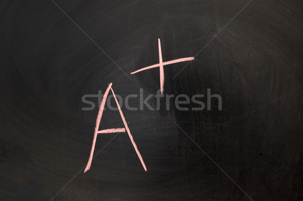 Chalk drawing - the score of A+ written on chalkboard Stock photo © raywoo