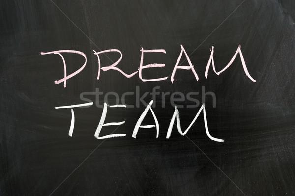 Foto stock: Sonho · equipe · palavras · escrito · quadro-negro · carta