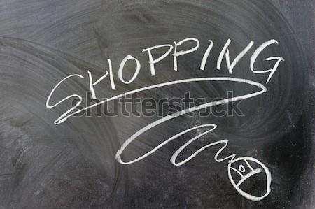 Dienst woorden muis symbool Blackboard Stockfoto © raywoo
