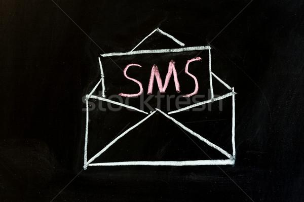 Sms короткий обмен сообщениями службе рисунок мелом Дать Сток-фото © raywoo