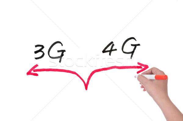 3g 4g választ rajz fehér tábla telefon Stock fotó © raywoo