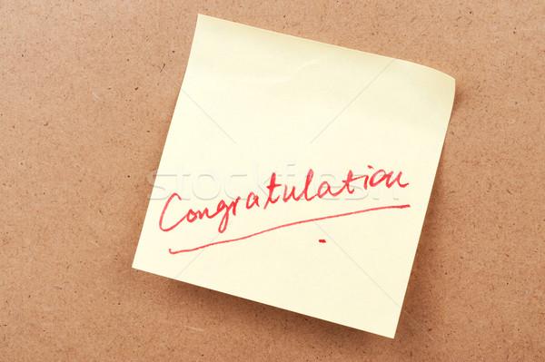 Felicitatie woord geschreven sticky note communicatie succes Stockfoto © raywoo