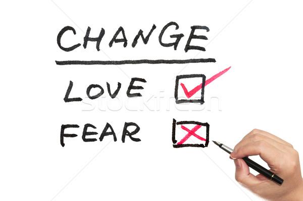 Verandering liefde angst woorden geschreven Stockfoto © raywoo