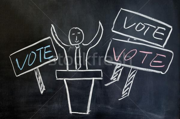 Foto stock: Votar · festa · escrita · carta · preto