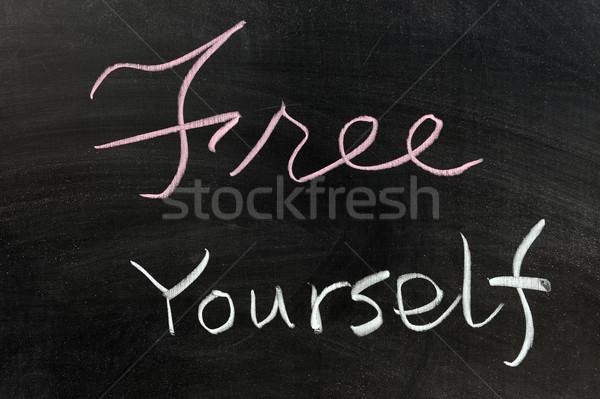 Szabad magad krétarajz boldog ír levél Stock fotó © raywoo