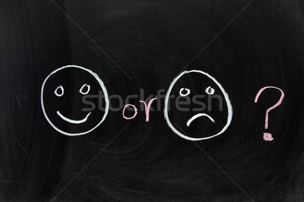 Gelukkig triest krijttekening schrijven brief zwarte Stockfoto © raywoo