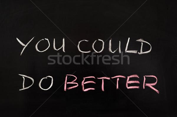 Jobb szavak írott iskolatábla fekete tábla Stock fotó © raywoo
