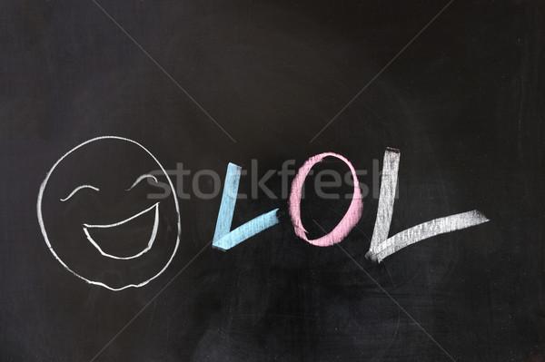 Lol krétarajz nevetés ki hangos mosoly Stock fotó © raywoo