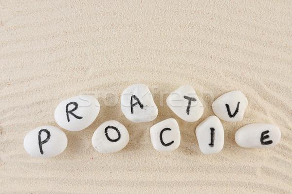 Proaktív szó csoport kövek homok textúra Stock fotó © raywoo