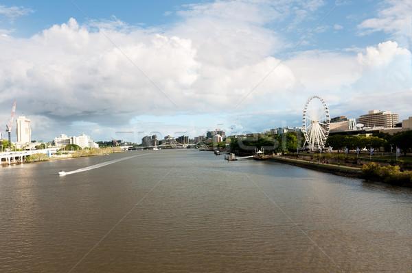 Брисбен реке пейзаж колесо воды зданий Сток-фото © raywoo
