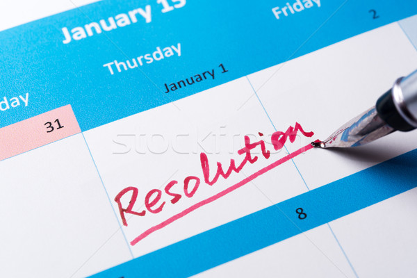 Resolution word on calendar Stock photo © raywoo