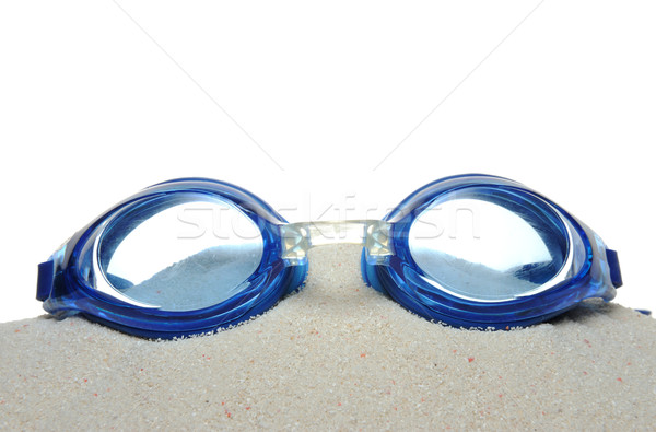 úszik védőszemüveg homok izolált fehér tengerpart Stock fotó © raywoo