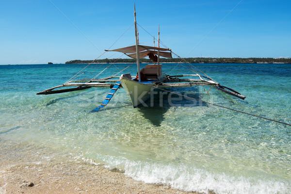 Barco ilha Filipinas água beleza oceano Foto stock © raywoo