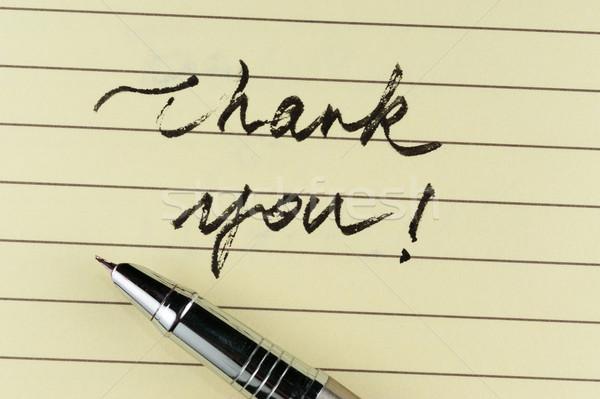 Obrigado palavras escrito papel caneta escritório Foto stock © raywoo