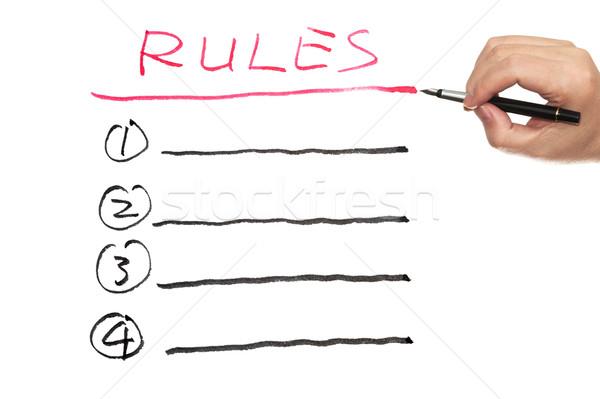 Reglas lista escrito blanco papel pluma Foto stock © raywoo