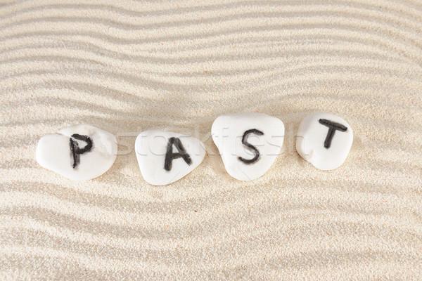 Pasado palabra grupo piedras arena textura Foto stock © raywoo