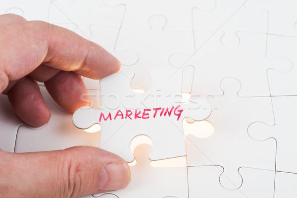 Marketing mão quebra-cabeça peça escrito Foto stock © raywoo