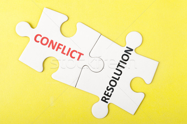 конфликт разрешение слов напечатанный два частей Сток-фото © raywoo