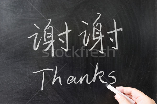 Thanks word in Chinese and English Stock photo © raywoo
