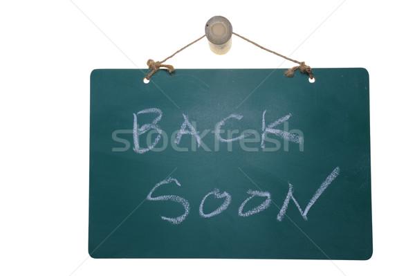 Maakt een reservekopie spoedig woorden groene boord geïsoleerd Stockfoto © raywoo