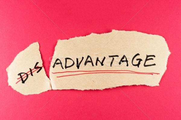 невыгодное положение преимущество слово бумаги фон информации Сток-фото © raywoo
