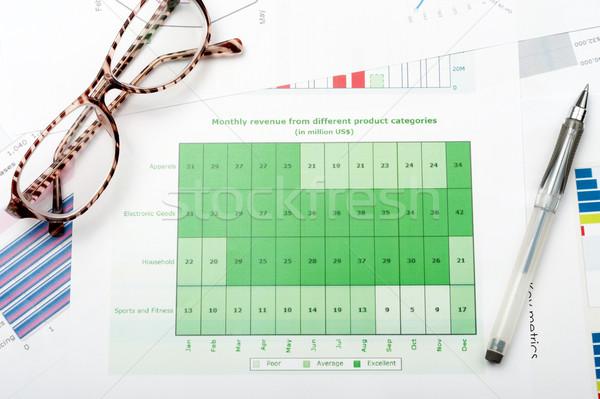 üzleti grafikon nyomtatott fehér papír toll szemüveg Stock fotó © raywoo