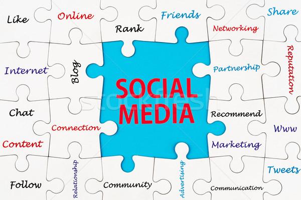 Közösségi média szavak csoport kirakós játék darabok technológia Stock fotó © raywoo