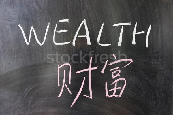Abbondanza parola cinese english scritto lavagna Foto d'archivio © raywoo