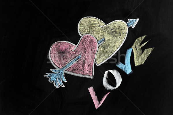 Liefde harten pijl krijttekening gelukkig ontwerp Stockfoto © raywoo