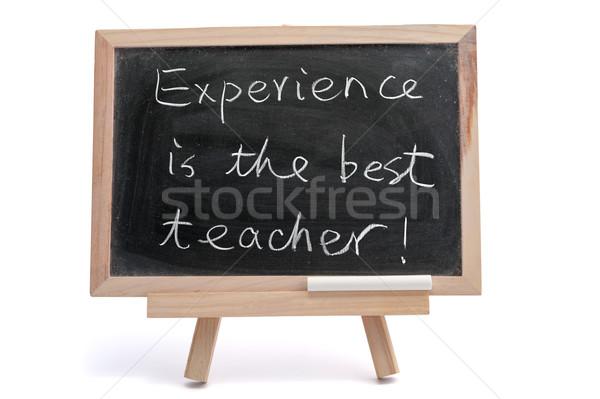Deneyim en iyi öğretmen yazılı tahta Stok fotoğraf © raywoo