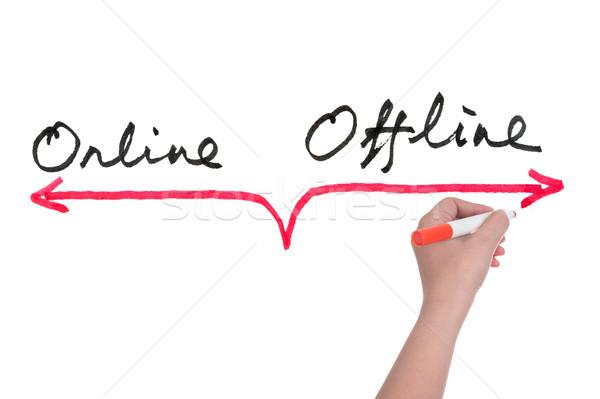 Online hand schrijven internet digitale Stockfoto © raywoo
