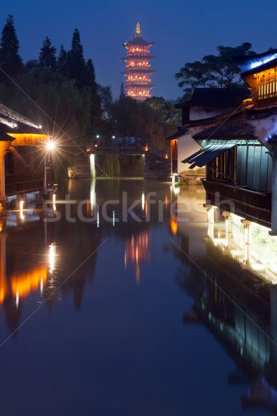 中国 建物 夜景 伝統的な 川 町 ストックフォト © raywoo