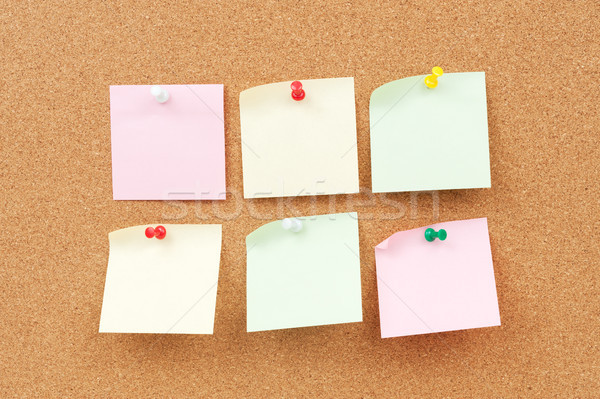 Stock photo: Thumbtack and note paper group