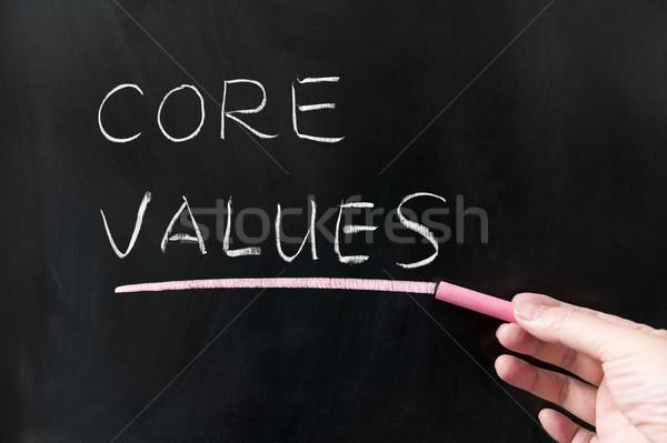 コア 価値観 単語 書かれた 黒板 ビジネス ストックフォト © raywoo