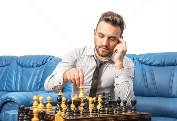 ストックフォト: チェス · プレーヤー · 肖像 · ハンサム · 若い男 · 演奏