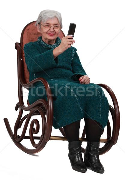 старший женщину фотографий телефон сидят Сток-фото © RazvanPhotography
