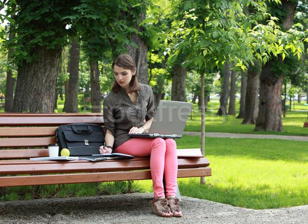 Młoda kobieta studia parku laptop piśmie coś Zdjęcia stock © RazvanPhotography