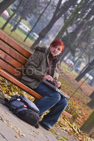 девушки осень парка изображение подростков сидят Сток-фото © RazvanPhotography