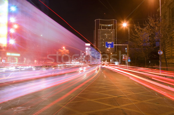 Duży miasta ruchu ciekawy obraz noc Zdjęcia stock © RazvanPhotography