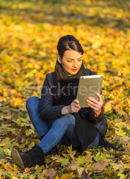 Mulher comprimido floresta outono retrato mulher jovem Foto stock © RazvanPhotography