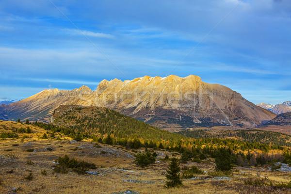 Foto stock: Montana · nieve · invierno · paisaje · alpes · tarde