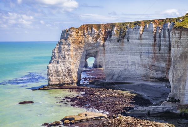 Naturalismo pedra arco normandia baixo maré Foto stock © RazvanPhotography