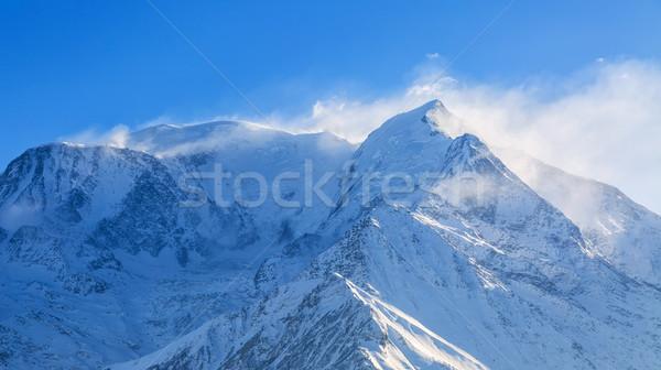 Hóvihar európai hegycsúcs tájkép hó háttér Stock fotó © RazvanPhotography