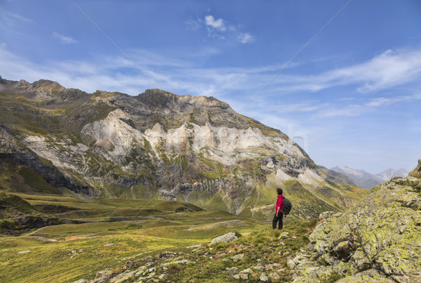 Hiker in the Circus of Troumouse - Pyrenees Mountains Stock photo © RazvanPhotography