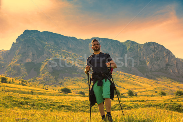 Stock photo: Man Hiking in Green Mountains