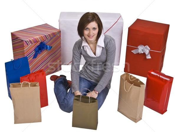 Nő ajándékok mosolygó nő születésnap doboz tini Stock fotó © RazvanPhotography