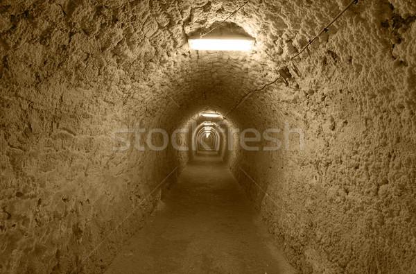 Subterráneo túnel piedra sal mina electricidad Foto stock © RazvanPhotography
