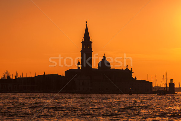 Silhouette of San Girogio Maggiore Church in Venice Stock photo © RazvanPhotography